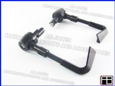 PAIR FRONT BRAKE AND CLUTCH LEVER PROTECTORS BLACK TRACK DAY, RACE, STREETBIKE